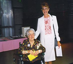 Past FCWCC Presidents, Ethel McCormack and Margie Reisz, at Ethel's surprise 95th birthday party in 1995. Margie presented the certificate to Ethel announcing the founding of the first Ethel McCormack Scholarship at CSU Fresno's Plant Science Department.